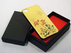 越前塗りiPhone蒔絵ケース   Maki-e iPhone 4/4S Cover Case Made in Japan - Akikusa (Autum Grass)