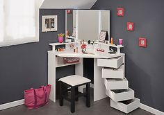 Image result for small white makeup table portable