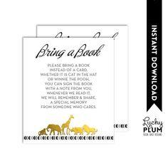 Animal Safari Baby Shower Book Insert / Black Gold Book Card / Aztec Boho Tribal Bring A Book / DIY Printable /  *Digital file*