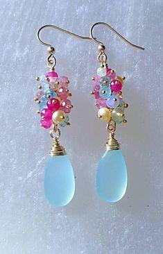 Aqua Chalcedony Drops with Ethiopian Opal Pink Tourmaline Pink Spinel Beige Freshwater Pearls and Aquamarine Earrings Handmade Jewelry Bracelets, Bijoux Diy, Pearl Jewelry, Jewelry Crafts, Earrings Handmade, Jewelery, Etsy Jewelry, Bangle Bracelets, Bead Earrings
