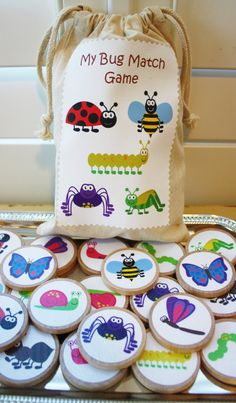 Bugs Wooden Memory match Game Educational Toy by MyLittleBoobug {Eva loves matching games, she is great at them!}