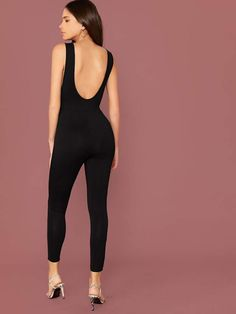 Solid Backless Slim Jumpsuit | SHEIN USA Women Ties, Belts For Women, Halter Jumpsuit, Skinny Waist, Lace Romper, Spandex Material, Black Pattern, Jumpsuits For Women, Backless