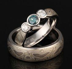 Color Enhanced Blue Diamond Bridal Set