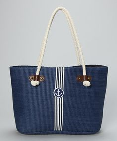 Take a look at this Navy Anchor Satchel by Straw Studios on #zulily today!
