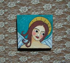 Folk Art Angel Original Painting by Debidoodah on Etsy, $48.00