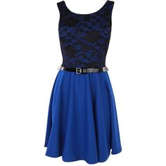 Blue Lace Skater Dress ($26) ❤ liked on Polyvore featuring dresses, vestidos, short dresses, robes, cross back dress, sleeveless dress, lacy dress and lace mini dress