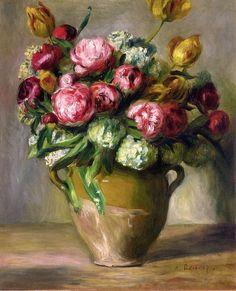 ❀ Blooming Brushwork ❀ - garden and still life flower paintings - Pierre Auguste Renoir - Vase of Peonies