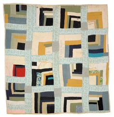 "Martha Pettway, ""Housetop""—""Half-Log Cabin"" variation, 1930s, Cotton, 81 x 74 inches"