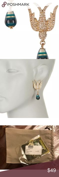"""Eye Candy Los Angeles Pave Dove Earrings-NIB Eye Candy Los Angeles Pave Dove Earrings    About This Item  Details - Gold-tone pave rhinestone dove earrings with pear shape drop stone - Post back  - Approx. 1.25"""" length - Imported  Materials Nickel-free and lead-free metal alloy, enamel, rhinestones  Care Wipe with a damp cloth. Keep away from water. Store in fabric pouch. Eye Candy Los Angeles Jewelry Earrings"""