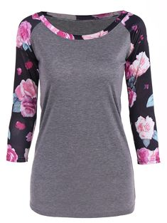 $13.05 for Floral Print 3/4 Sleeve Tee in Gray | Sammydress.com
