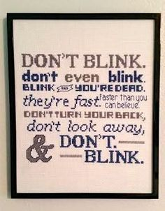 Don't Blink. Completed cross stitch art framed by pickleladyfarm