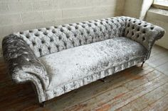MODERN-HANDMADE-SILVER-CRUSHED-VELVET-FABRIC-4STR-CHESTERFIELD-SOFA-COUCH-CHAIR