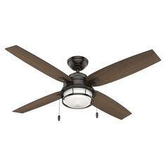 Hunter Ocala Noble 52-inch Bronze Fan With 4 Black Willow/Maple Reversible Blades | Overstock.com Shopping - The Best Deals on Ceiling Fans