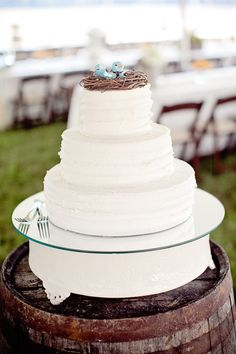 A white, simple wedding cake with a cute little nest and blue bird for a cake topper.
