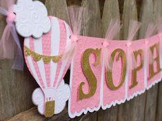 Hot Air Balloon Birthday Banner, Pink and Gold Birthday
