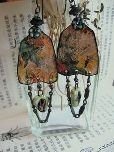 <3 Garden Of The Gods tin earrings with beads drops by inthewillows,