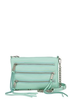 Rebecca Minkoff Mini 5-Zip in Mint. Great spring/summer bag.