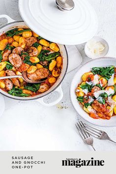 This sausage and gnocchi one-pot recipe makes a fuss-free, family-friendly meal with minimal washing up! Get the Sainsbury's magazine recipe One Pot Meals, Main Meals, Blue Cheese Potato Salad, Curry In A Hurry, Creamy Mash, Midweek Meals, Eat Your Heart Out, Potato Skins