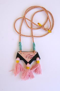 Kelaoke necklace via etsy - Moroccan inspired polymer clay statement necklace in black and pink