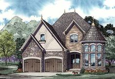 European French Country Tudor Victorian House Plan 82155