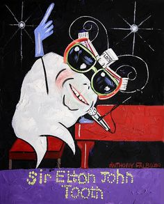 Sir Elton John Tooth Dental Art Print Collectable Teeth Dentist Anthony Falbo. $39.00, via Etsy.