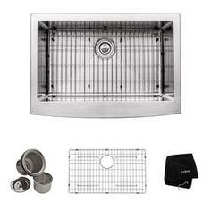 Kraus Kitchen Sink 20-in x 29.75-in Single-Basin Stainless Steel Apron Front/Farmhouse Residential Kitchen Sink