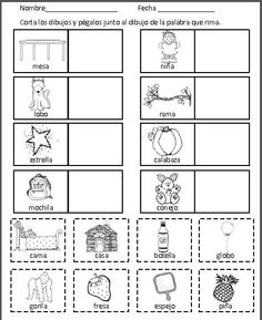 Rimas: Hojas de trabajo by Mrs G Dual Language Bilingual Kindergarten, Bilingual Classroom, Bilingual Education, Classroom Language, Classroom Resources, Spanish Lessons For Kids, Preschool Spanish, Teaching Spanish, Spanish Class