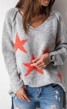 Suéter con estrella tricot