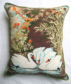 Found Swan Tapestry cushion