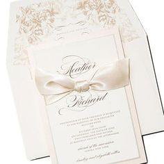 Timeless Elegant Wedding Invitation with Personalized Envelope Liner honey-paper.com