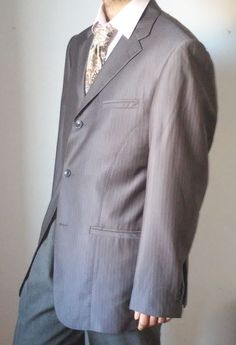 Giorgio Armani Super 150's Wool Blend Gray Striped Blazer Jacket size 54 #GiorgioArmani #ThreeButton #Jacket #Blazer #eBay #Fashion