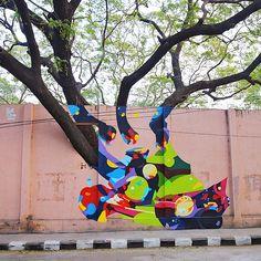 SatOne mural in Chennai, India Murals Street Art, Mural Art, Art Art, Chennai, Street Photography Tips, New Work, Graffiti, Illustration Art, Graphic Design