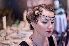 Vintage style gatsby forehead hairpiece, retro hair accessory, vintage hair accessory, hair drape, a Retro Hairstyles, Headband Hairstyles, Easy Hairstyles, Wedding Hairstyles, Gatsby Hair, 1920s Hair, Gatsby Look, Gatsby Style, Vintage Hair Accessories