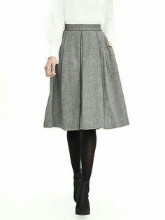 Love a charcoal pleated a-line skirt with pockets