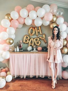 Baby shower dress Baby shower decor girl baby shower pink and gold balloon arch Christmas decorations baby shower ideas Otoño Baby Shower, Baby Shower Roses, Baby Shower Backdrop, Shower Bebe, Baby Girl Shower Themes, Simple Baby Shower, Girl Baby Shower Cakes, Pink Baby Shower Dress, Baby Girl Cakes