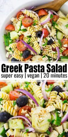 vegan Greek pasta salad is perfect for your next BBQ or potluck! It's one o This vegan Greek pasta salad is perfect for your next BBQ or potluck! -This vegan Greek pasta salad is perfect for your next BBQ or potluck! Easy Vegan Lunch, Vegan Lunch Recipes, Vegan Dinners, Vegan Lunches, Vegan Snacks On The Go, Vegan Meal Prep, Pasta Salad Recipes, Healthy Salad Recipes, Whole Food Recipes