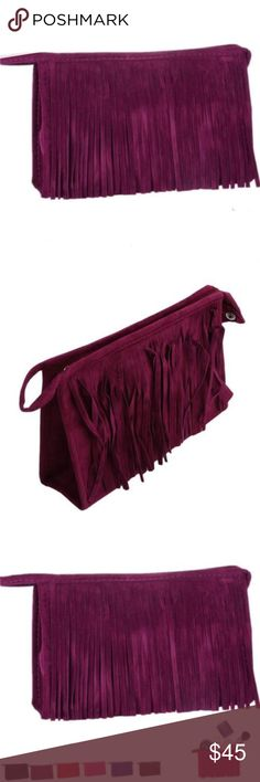 Fringe Handbags Lthr Toiletry Bag - Purple French Fringe Clutch Cosmetic Toiletry Bag  Fringe Handbags I have different colors to choose   Luxurious Fancy Designer Look Zipper Fringed Clutch  This listing is for ROYAL PURPLE  Outer:  Gorgeous Velvet Leather Vegan               Beautiful Quality Fringes              Zipper Top  Inside: Lined, with cosmetic mirror attached  Roomy inside for Cell phone, Cosmetics Makeup, etc. Use is as a hip Clutch Fringe Purse, or a Toiletry Cosmetic Pouch. I…
