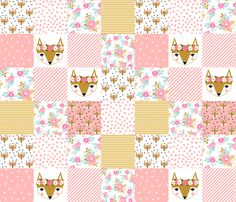 fox florals patchwork cheater quilt fox fabric floral fabric cute flower pink flowers cute pink fabric by charlottewinter