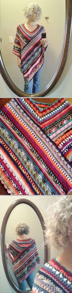 The Molly Poncho, free pattern by Stacey of Stacey Daze. Pretty mixed stitches worked as two rectangles which are then sewn together, then the neckline is added. Her instructions are general (advanced beginner), but it's really much easier than it looks ☺ Browse the Ravelry Project Gallery. Mixed stitches would make a pretty shawl, too. . . . . ღTrish W ~ www.pinterest.com... . . . . #crochet
