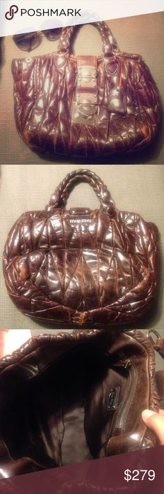 authentic MIU MIU brown bag 100% authentic MIU MIU brown leather bag with braided it handles and silver hardware. Some fading from regular use on the corners on the bottom, and some on the back of the bag, The way the leather is almost quilted it looks like it's supposed to be like that. Inside of the bag is near perfect. Measures 11 x 9 by 3 inches approximately. Miu Miu Bags