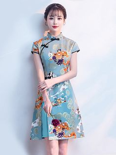 Blue Printed A-Line Qipao / Cheongsam Party Dress Cute Dresses, Beautiful Dresses, Short Dresses, Oriental Dress, Cheongsam Dress, Batik Dress, Ao Dai, Traditional Dresses, Kaftan