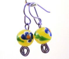 Yellow Lampwork Glass Beads with Blue Flowers and Wire Earrings | EntwinedVines - Jewelry on ArtFire