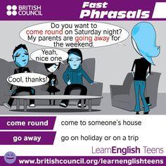 Fast Phrasals / #PhrasalVerbs: come round, go away #LearnEnglish @English4Matura