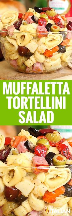 Muffaletta Tortellini Salad is all your favorite things about a pasta salad and the classic Italian flavors of the Muffaletta sandwich rolled into one amazing summer salad. An easy recipe that you will be making all year long. Fettucine Alfredo, Vegetable Pasta, Fast Food, Pasta Salad Recipes, Recipe Pasta, Side Dish Recipes, Side Dishes, Summer Salads, Soup And Salad