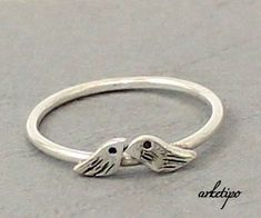 Love Birds Ring of sterling silver...Stack ring... Stacking Ring.. You will love it.. on Etsy, $32.31