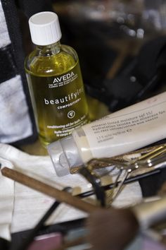 Aveda beautifying oil. Smells heavenly and works great on skin, hair and in the bath. In winter, I apply it to my face and neck before my day moisturizer.