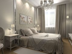 Winsome Curtain Ideas For Bedroom With Gray White Curtain Ideas For Bedroom With Fancy Chandelier Also Elegant Bedding Set Along With Lighting Idea In Ceiling Also White Rug On Wooden Floor Charming Curtains Ideas for Bedroom Design Interior Design, Home decoration
