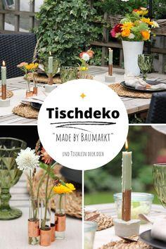 Tischdekoration für den Sommer auf der Terrasse oder die ersten herbstlichen Tage im Garten. Ein Besuch im Baumarkt und du findest die tollsten Dinge, die du für diese Tischdeko benötigst. Rustikal, modern und leicht nach zu machen. Alle Ideen für diesen gedeckten Tisch findest du auf meinem Blog. #tischleindeckdichblog #tischdeko #tischdekoration #baumarktideen Diy Interior, Diy Girlande, Dinner Is Served, Table Decorations, Blog, Furniture, Outdoors, Home Decor, Ideas