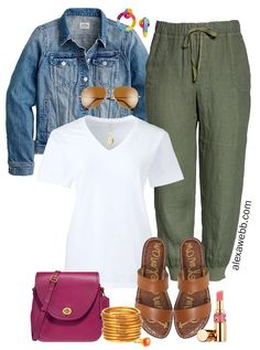 Plus Size Linen Joggers Outfit - Plus Size Linen Joggers Outfit with white t-shirt, denim jacket, flat sandals, and crossbody bag - Alexa Webb This plus size line. Short Outfits, Spring Outfits, Casual Outfits, Cute Outfits, Fashion Outfits, Womens Fashion, Khaki Shorts Outfit, Jogger Outfit, Colored Jeans Outfits