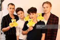 James McVey, Connor Ball, Bradley Simpson and Tristan Evans of The Vamps show support for BBC Children in Need at Elstree Studios on November 17, 2017 in Borehamwood, England.